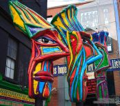 Travel photography:Sculptures on a Dublin street, Ireland