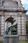 Travel photography:Sculpture of the Irish historian W. Lecky at Dublin´s Trinity College , Ireland