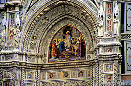 Detail over the Entrance Portal to the Duomo in Florence