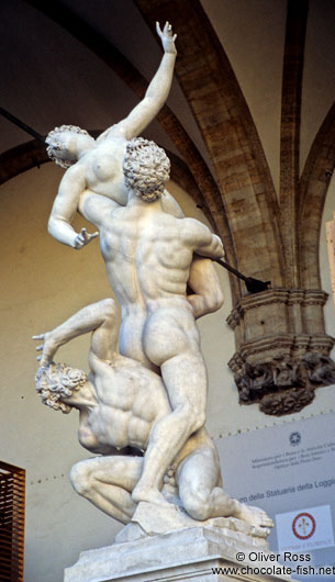 Sculpture depicting the theft of the Sabines in Florence