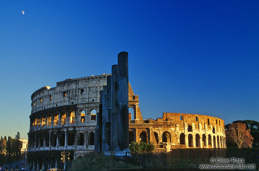The Coliseum in Rome at sunset