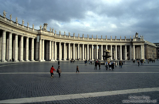 Saint Peter`s Square in the Vatican with colonnade