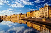 Travel photography:Houses along the River Arno in Florence, Italy
