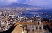 Travel photography:Panoramic view of Naples with Vesuvius, Italy