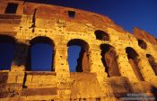 Travel photography:Facade of the Coliseum in Rome, Italy