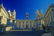 Travel photography:The Piazza del Campidoglio (capitol square) with the Palazzo Senatorio (senatorial palace), Italy