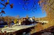 Travel photography:Island in Rome`s Tibre River, Italy