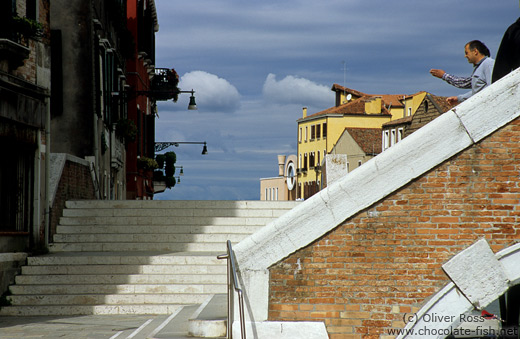 Footpath at Ponte Tre Archi over Rio de Canareggio in Venice