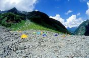 Travel photography:Campers near Kamikochi in the Japanese Alps, Japan