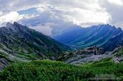 Travel photography:Fisheye perspective of the Japanese Alps, Japan