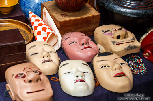 Masks for sale at Tokyo´s Antiques market