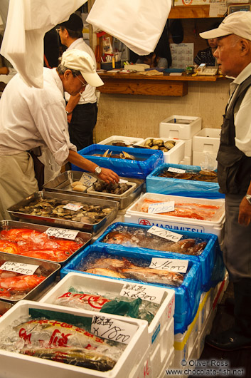 Sea food for sale at the Tokyo Tsukiji fish market