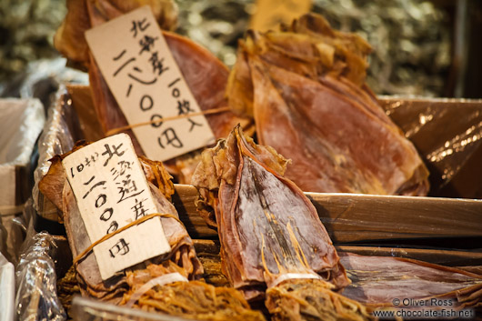Dried squid for sale the Tokyo Tsukiji fish market
