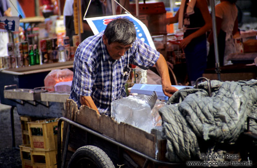 Selling ice to the market stalls in Tokyo