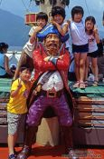 Travel photography:Kids posing on a pirate ship on Lake Hakone, Japan
