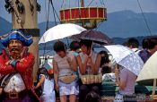 Travel photography:Passengers on a pirate ship crossing Lake Hakone, Japan
