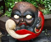 Travel photography:Mask for sale at Tokyo´s Antiques market, Japan