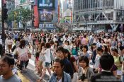 Travel photography:Busy pedestrian crossing in Tokyo´s Shibuya district, Japan