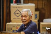 Travel photography:Man at the Tokyo Tsukiji fish market, Japan