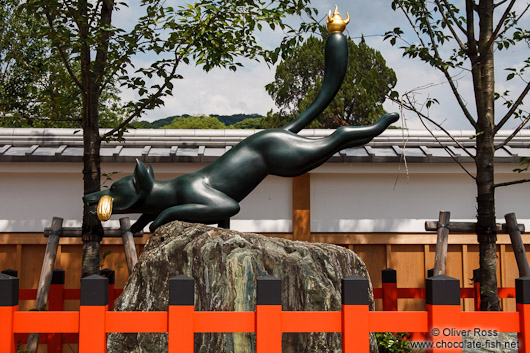 Sculpture at the gate to Kyoto`s Inari shrine