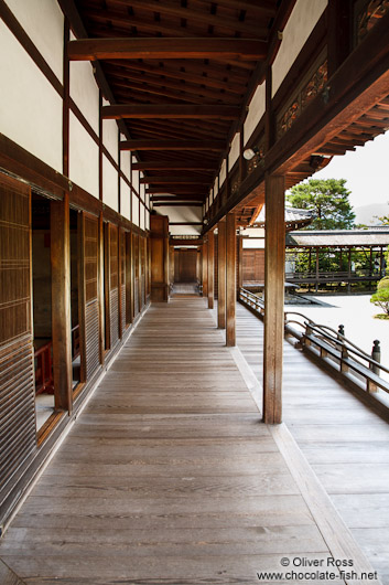 Wooden walkway outside the Shinden at Kyoto´s Ninnaji temple