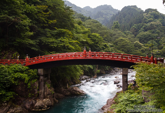 The wooden arched bridge Shinkyo at the Nikko Unesco World Heritage site