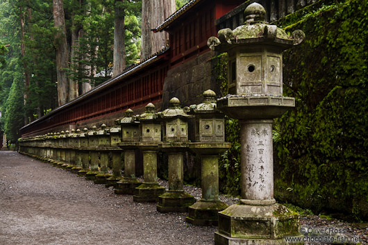 Row of stone lanterns at the Nikko Unesco World Heritage site
