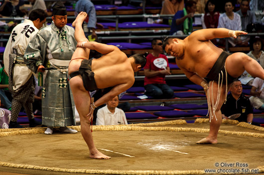 Juryo ranked wrestlers perform the leg-stomping (shiko) exercise to drive evil spirits from the ring (dohyoin) at the Nagoya Sumo Tournament