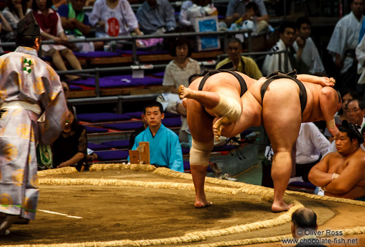 Sumo action at the Nagoya Sumo Tournament
