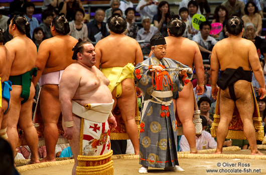 Entrance of the highest ranked makuuchi fighters at the Nagoya Sumo Tournament
