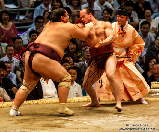A bout at the Nagoya Sumo Tournament