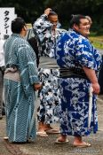 Travel photography:Sumo wrestlers on a break at the Nagoya Sumo Tournament, Japan
