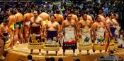 Travel photography:Entrance of the highest ranked makuuchi fighters at the Nagoya Sumo Tournament, Japan