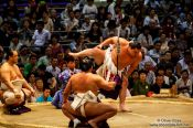Travel photography:Presentation of the bow to the top makuuchi wrestler at the Nagoya Sumo Tournament, Japan