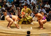 Travel photography:Perparing for a bout at the Nagoya Sumo Tournament, Japan
