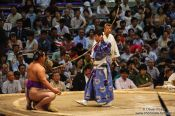 Travel photography:Presentation of the bow at the end of the days fighting at the Nagoya Sumo Tournament, Japan