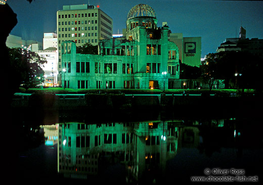 The Atomic Bomb Dome in Hiroshima by night