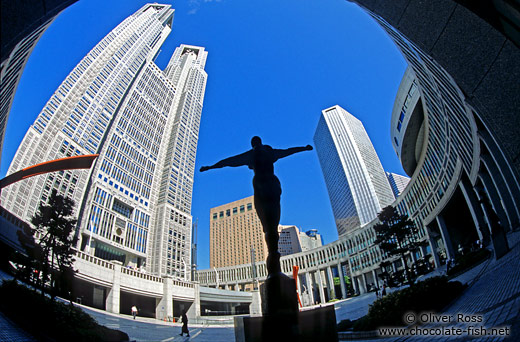Statue in front of the Metropolitan Government Building in Tokyo`s Shinjuku district