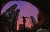 Travel photography:Statue in front of the Metropolitan Government Building in Tokyo`s Shinjuku district, Japan