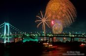 Travel photography:Fireworks display over Tokyo harbour, Japan