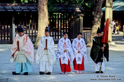 Priest and helpers after the wedding ceremony at Meiji Shrine in Tokyo