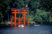 Travel photography:Red torii on Hakone Lake, Japan