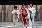 Travel photography:Three women in kimonos in Kyoto´s Gion district, Japan