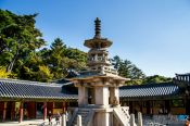 Travel photography:Central stone pagoda at Bulguksa Temple, South Korea