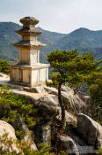 Travel photography:Three storied pagoda at Yongjangsa in the Namsan mountains, South Korea