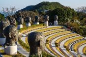 Travel photography:Amphitheatre with sculptures on Camellia Island, South Korea