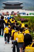 Travel photography:School childern on their way to visit the Gyeongbokgung palace, South Korea