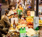 Travel photography:Street restaurant at the Seoul night market, South Korea