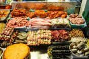 Travel photography:Food for sale at the Seoul night market, South Korea