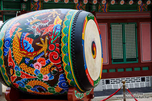 Giant drum in Seoul`s Gyeongbokgung palace
